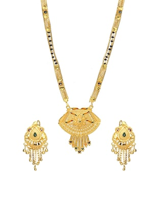 Gold Tone Mangalsutra & Earrings set - 15630806 - Standard Image - 1