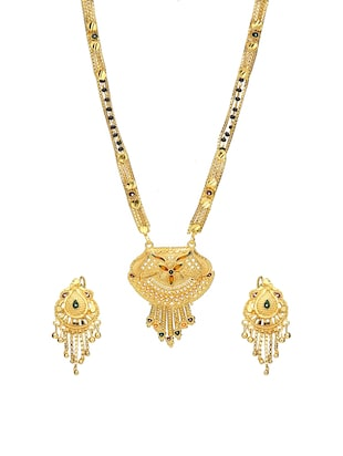 Gold Tone Mangalsutra & Earrings set - 15630809 - Standard Image - 1