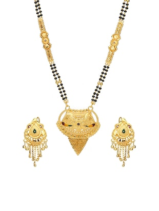 Gold Tone Mangalsutra & Earrings set - 15630813 - Standard Image - 1