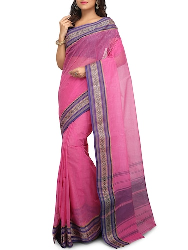 contrast border tant saree - 15637751 - Standard Image - 1