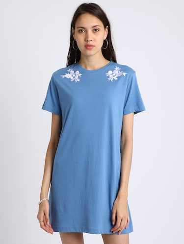 azure blue embroidered shift dress - 15637826 - Standard Image - 1