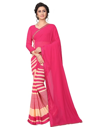 striped half and half saree with blouse - 15642648 - Standard Image - 1