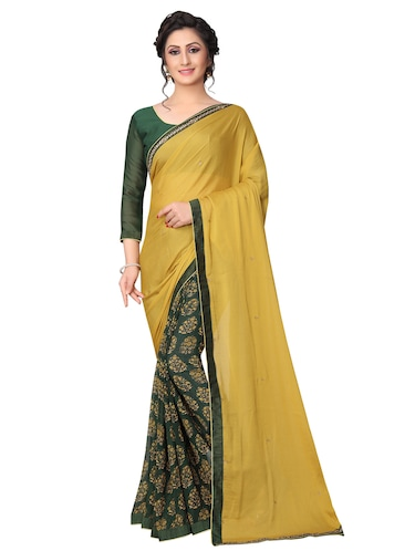 floral half and half saree with blouse - 15642655 - Standard Image - 1