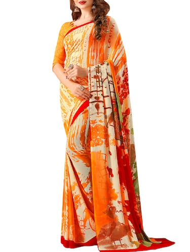 Abstract Printed saree with blouse - 15644073 - Standard Image - 1