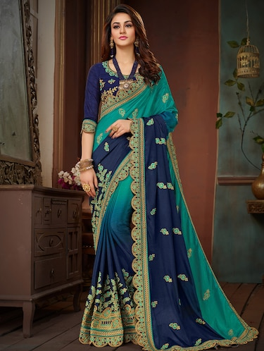 3e0fb6bbebca77 Buy Floral Ombre Embroidered Saree With Blouse for Women from Manohari for  ₹2352 at 62% off