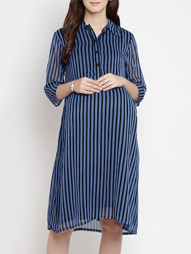 5d03196495 Buy Button Detail Striped Maternity Dress for Women from Mine4nine ...
