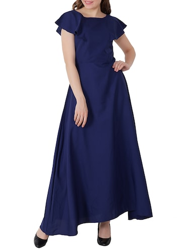 electric blue ruffle sleeved gown - 15661122 - Standard Image - 1