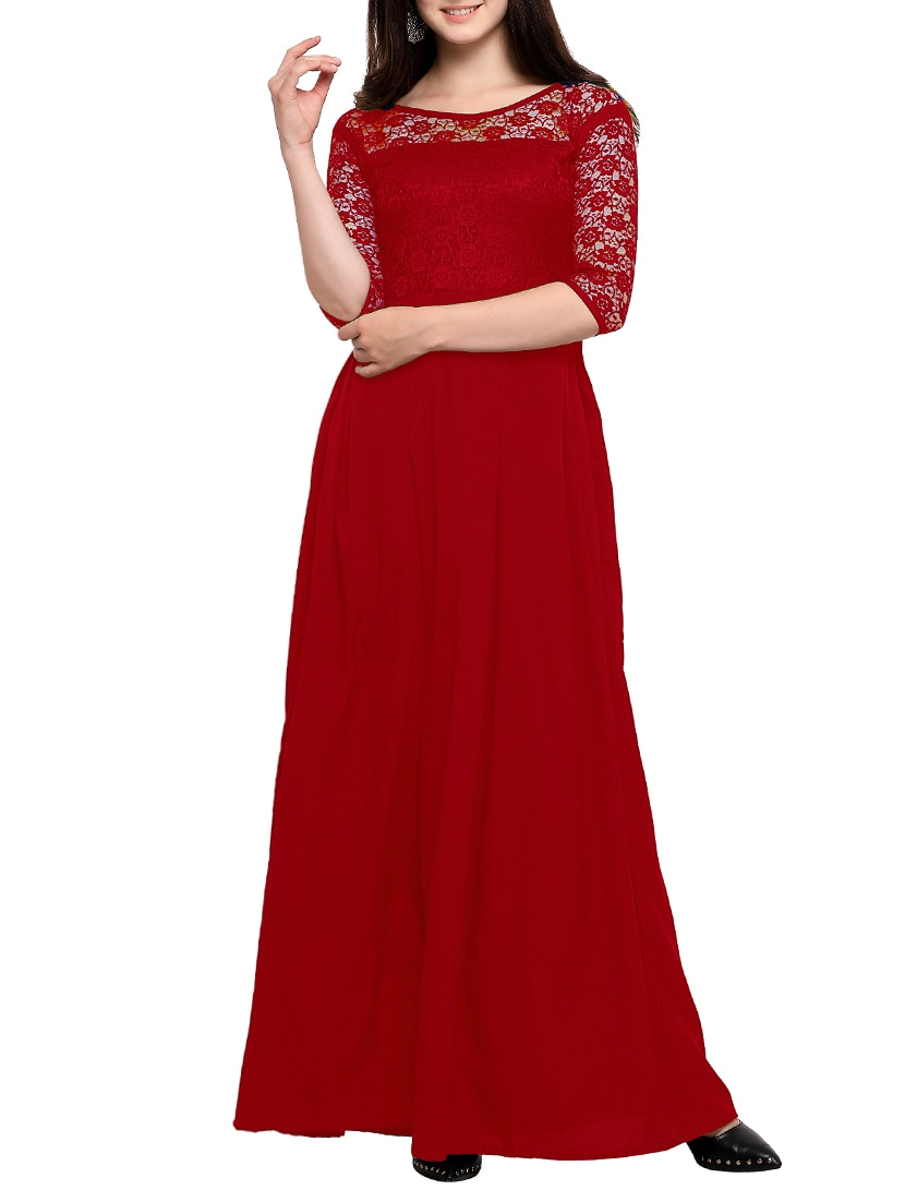 542faafe32a Buy Floral Lace Panel Maxi Dress for Women from Sheetal Associates ...