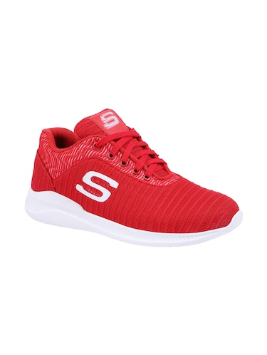 red Mesh lace up sport shoes - 15682065 - Standard Image - 1