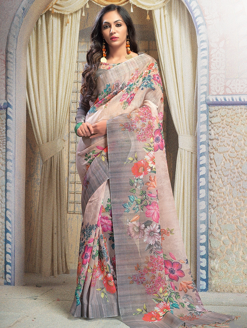 Buy Online At Annie S Annuals: Buy Floral Digital Printed Linen Saree With Blouse For