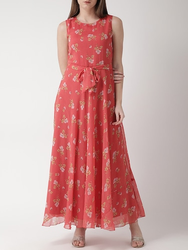 floral self tie belted maxi dress - 15698682 - Standard Image - 1