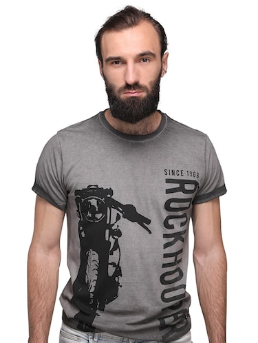 grey cotton front print tshirt - 15700486 - Standard Image - 1