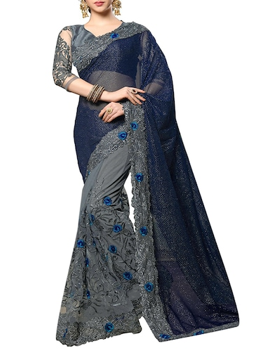 floral embroidered half & half saree with blouse - 15703228 - Standard Image - 1