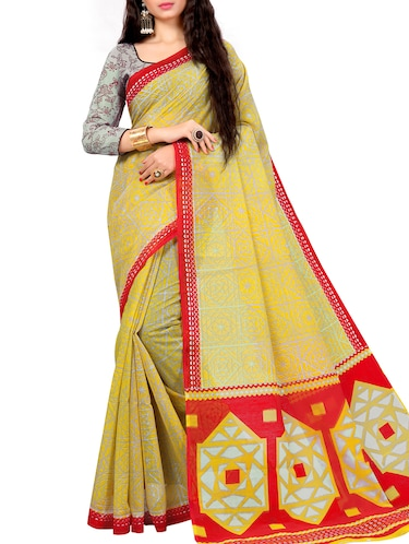 geometrical printed saree with blouse - 15720082 - Standard Image - 1