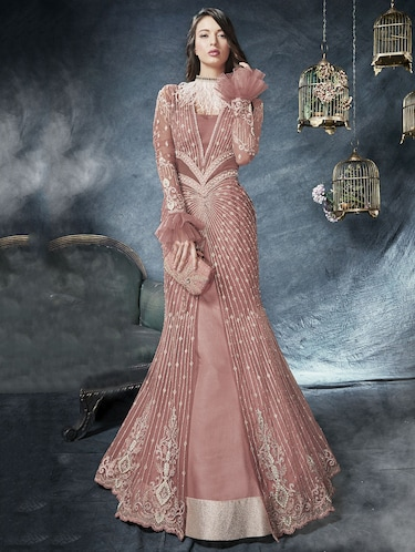 Embroidered ruffled sleeved fishtail suit - 15720475 - Standard Image - 1