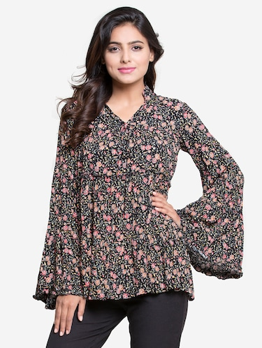 frill trim bell sleeved top - 15724580 - Standard Image - 1
