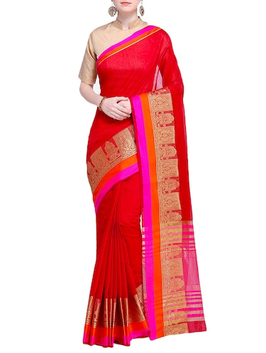 zari border woven saree with blouse - 15724739 - Standard Image - 1