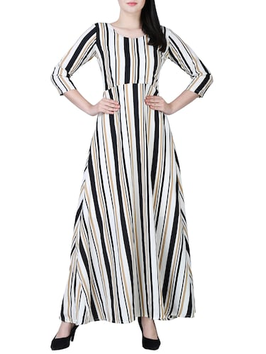 round neck striped maxi dress - 15726105 - Standard Image - 1