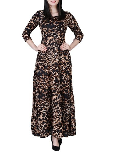 round neck animal print maxi dress - 15726107 - Standard Image - 1