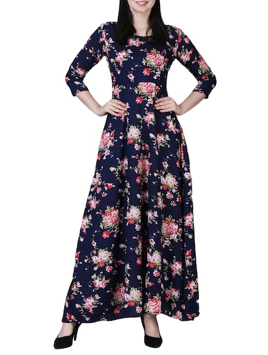 round neck floral maxi dress - 15726110 - Standard Image - 1