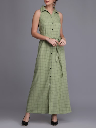button up checkered maxi dress - 15726272 - Standard Image - 1