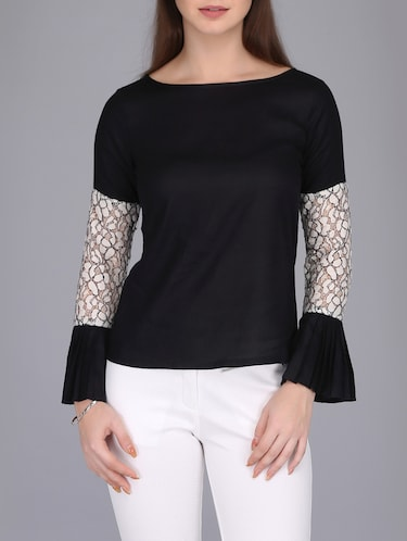 lace insert bell sleeved top - 15726285 - Standard Image - 1
