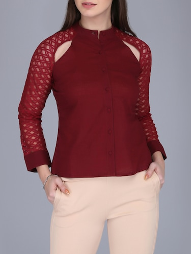 lace sleeved button up top - 15726286 - Standard Image - 1