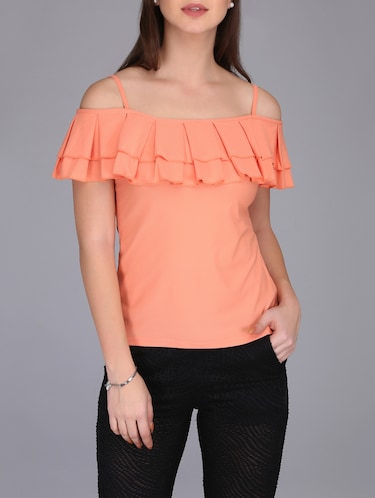 cold shoulder pleated top - 15726294 - Standard Image - 1
