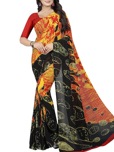 geometrical printed saree with blouse - 15726302 - Standard Image - 1