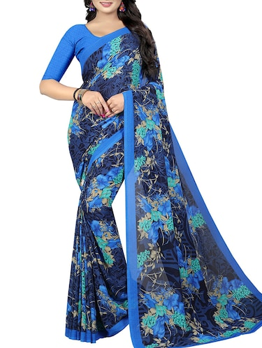 floral printed saree with blouse - 15726306 - Standard Image - 1