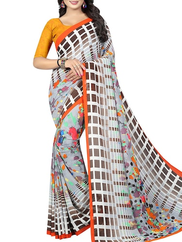 geometrical printed saree with blouse - 15726311 - Standard Image - 1