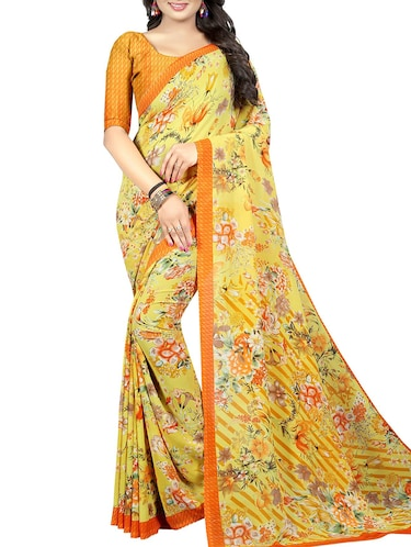 floral printed saree with blouse - 15726314 - Standard Image - 1