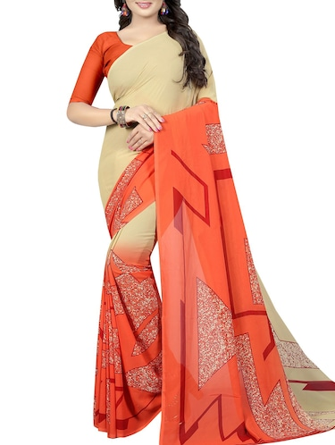 geometrical printed saree with blouse - 15726325 - Standard Image - 1