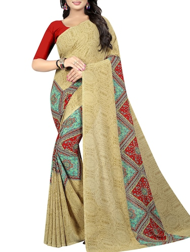 geometrical printed saree with blouse - 15726328 - Standard Image - 1