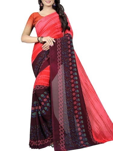 floral printed saree with blouse - 15726330 - Standard Image - 1