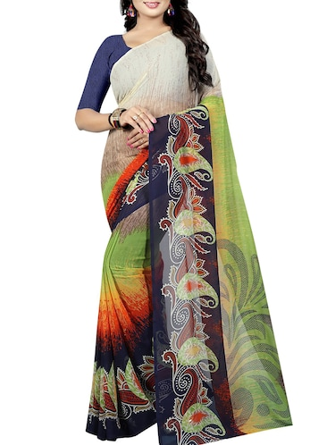 paisley printed saree with blouse - 15726335 - Standard Image - 1