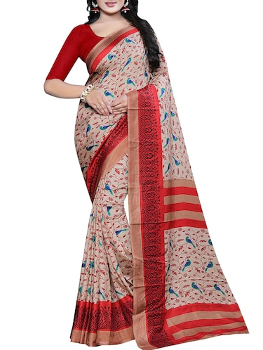 conversational printed saree with blouse - 15726347 - Standard Image - 1