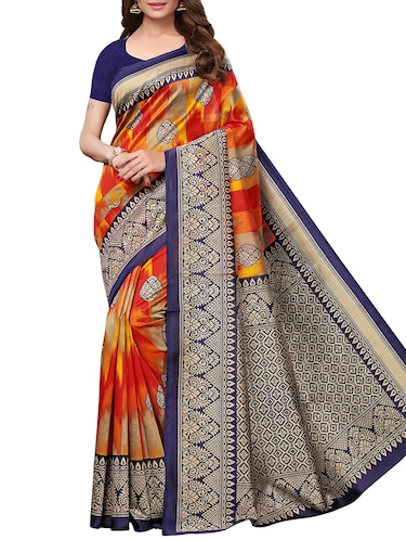 contrast border mysore silk saree with blouse - 15726351 - Standard Image - 1