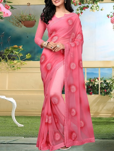 floral resham embroidered saree with blouse - 15726372 - Standard Image - 1