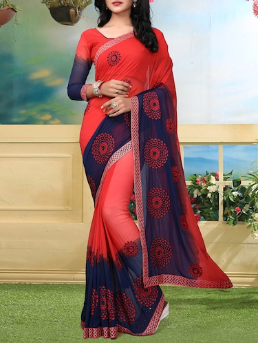 resham embroidered ombre saree with blouse - 15726375 - Standard Image - 1