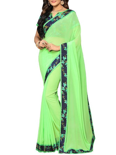 floral lace border saree with blouse - 15726548 - Standard Image - 1