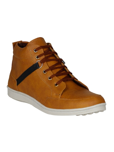 tan leatherette lace up sneakers - 15726573 - Standard Image - 1