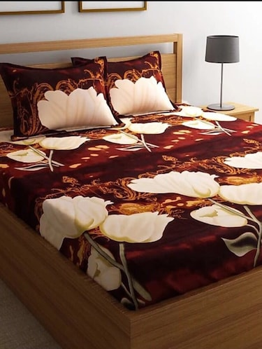 PolyCotton Double bedsheet with 2 Pillow Covers - 15726604 - Standard Image - 1