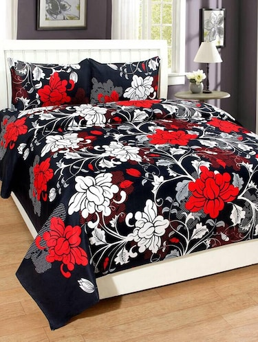 PolyCotton Double bedsheet with 2 Pillow Covers - 15726612 - Standard Image - 1
