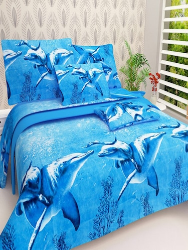 PolyCotton Double bedsheet with 2 Pillow Covers - 15726620 - Standard Image - 1