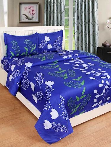 PolyCotton Double bedsheet with 2 Pillow Covers - 15726629 - Standard Image - 1