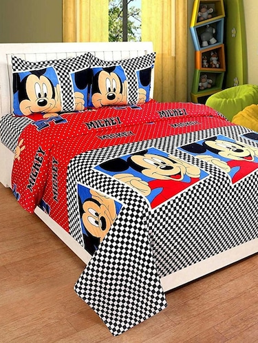 PolyCotton Double bedsheet with 2 Pillow Covers - 15726647 - Standard Image - 1