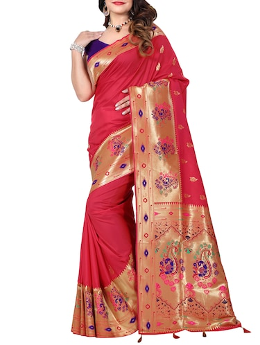 conversational zari motif banarasi saree with blouse - 15726729 - Standard Image - 1