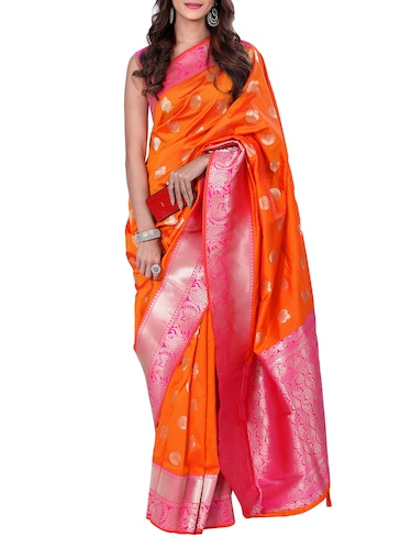 conversational zari motif banarasi saree with blouse - 15726731 - Standard Image - 1
