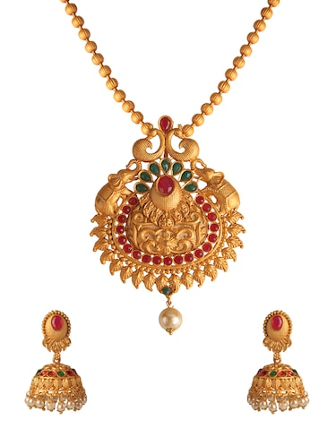 Gold Tone Necklace & Earrings Set - 15726999 - Standard Image - 1